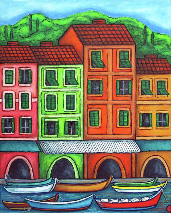 Italy Art Print featuring the painting Colours of Liguria by Lisa Lorenz
