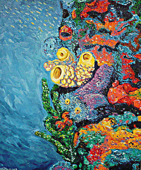 Coral Art Print featuring the painting Coral With Cucumber by Ericka Herazo