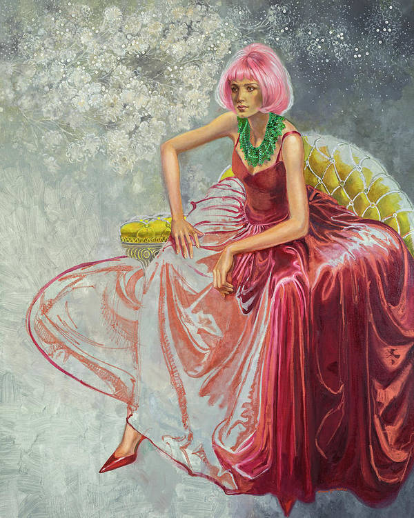 Fashion Illustration Art Print featuring the painting Cotton Candy by Barbara Tyler Ahlfield