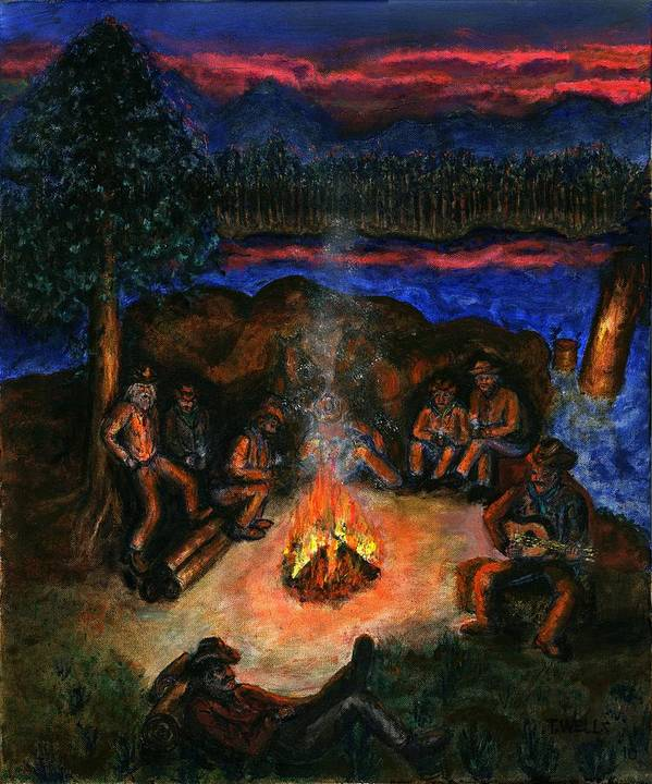 Cowboys Art Print featuring the painting Cowboys Mountain Camp at Night by Tanna Lee M Wells