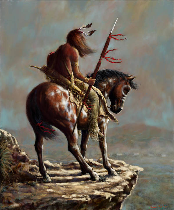 Crazy Horse Art Print featuring the painting Crazy Horse_Digital Study by Harvie Brown