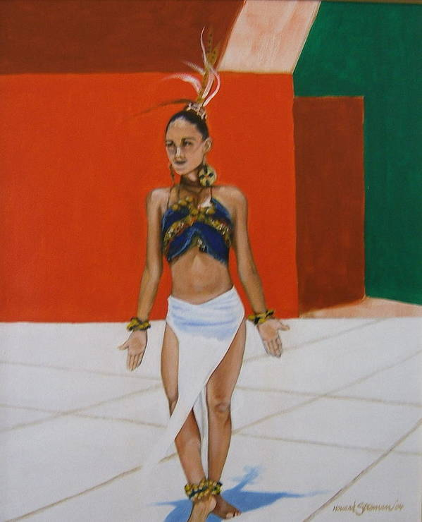 Dancer In Costume Art Print featuring the painting Dancer In Costume by Howard Stroman