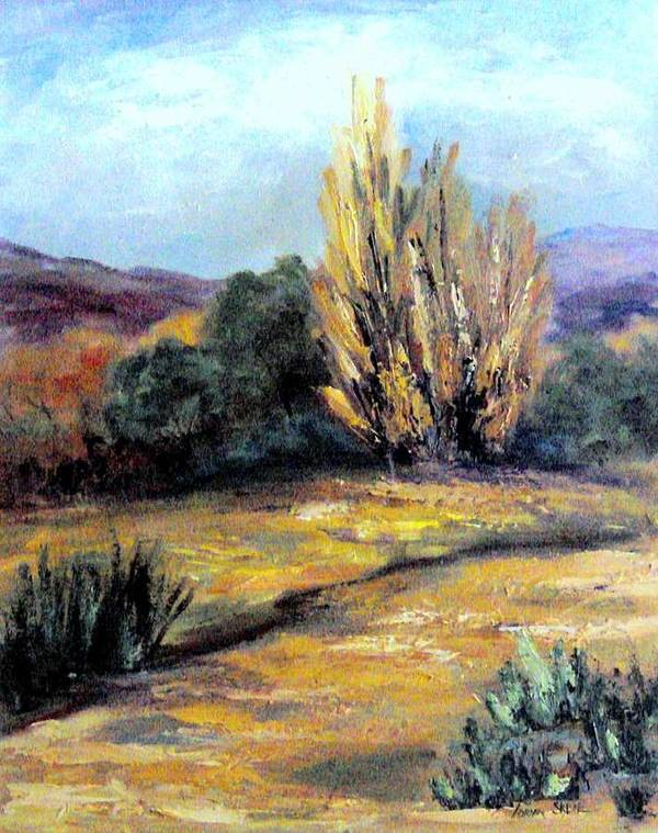 Landscape Art Print featuring the painting Desert in the Springtime by Lorna Skeie