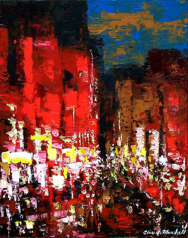 Abstract Art Print featuring the painting Downtown Lights by Claude Marshall
