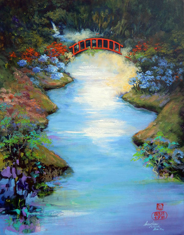 Streams Art Print featuring the painting Dragon Bridge by Caroline Patrick