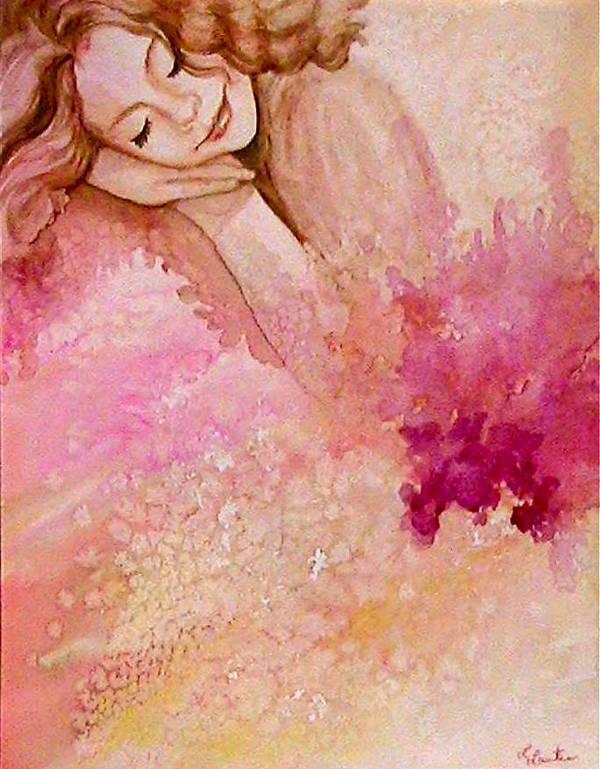 Portrait Art Print featuring the painting Dream by L Lauter