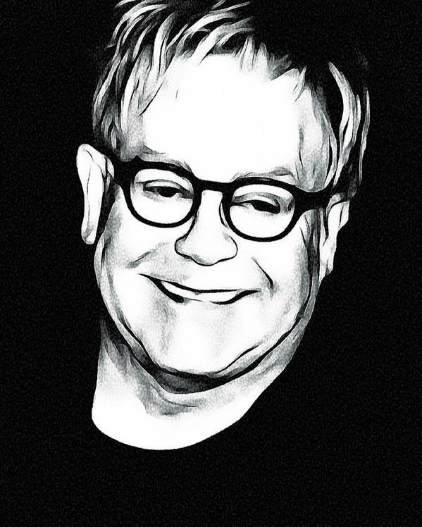 Elton Art Print featuring the digital art Elton John Black and White by Yury Malkov
