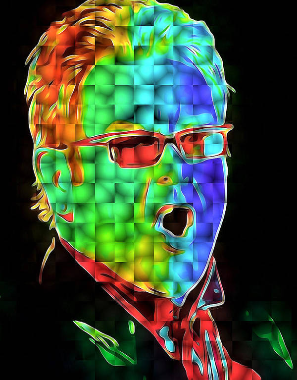 Elton Art Print featuring the digital art Elton John in Cubes 2 by Yury Malkov