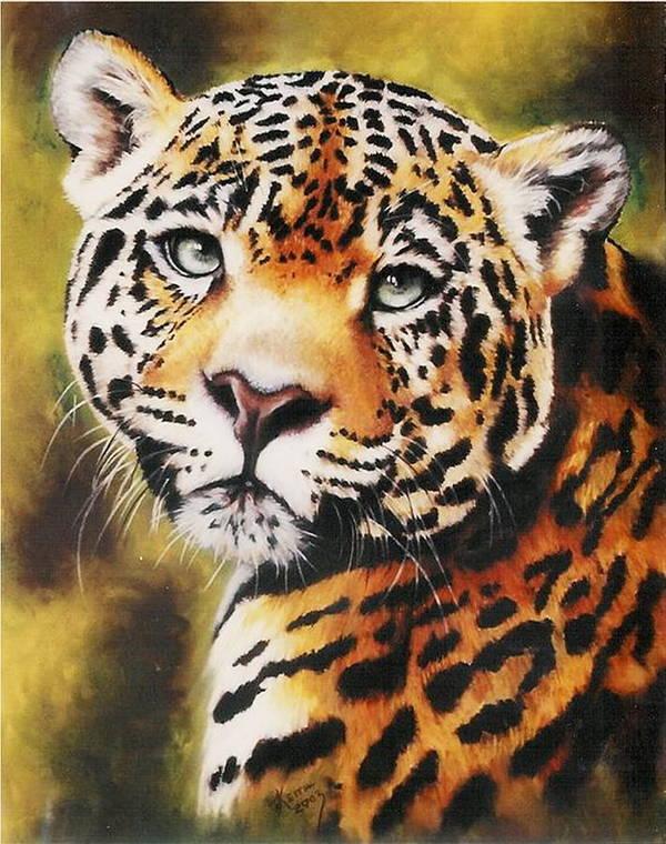 Jaguar Art Print featuring the pastel Enchantress by Barbara Keith