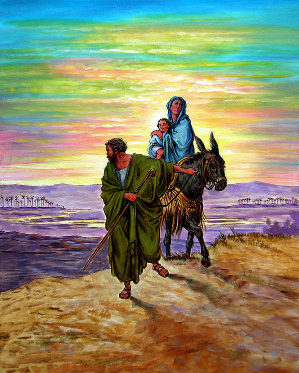 Jesus Art Print featuring the painting Escape into Egypt by John Lautermilch