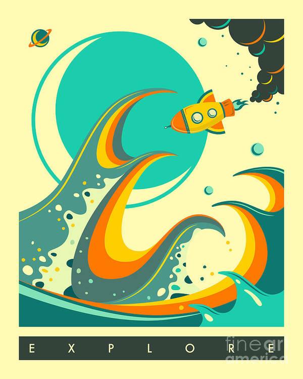 Retro Art Print featuring the digital art Explore 1 by Jazzberry Blue