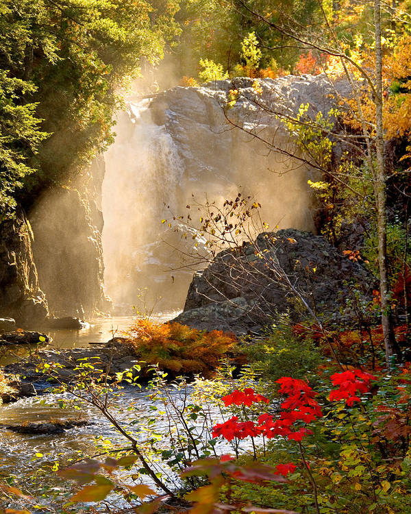 Fall Art Print featuring the photograph Fall Falls Mist Dead River Falls Marquette MI by Michael Bessler