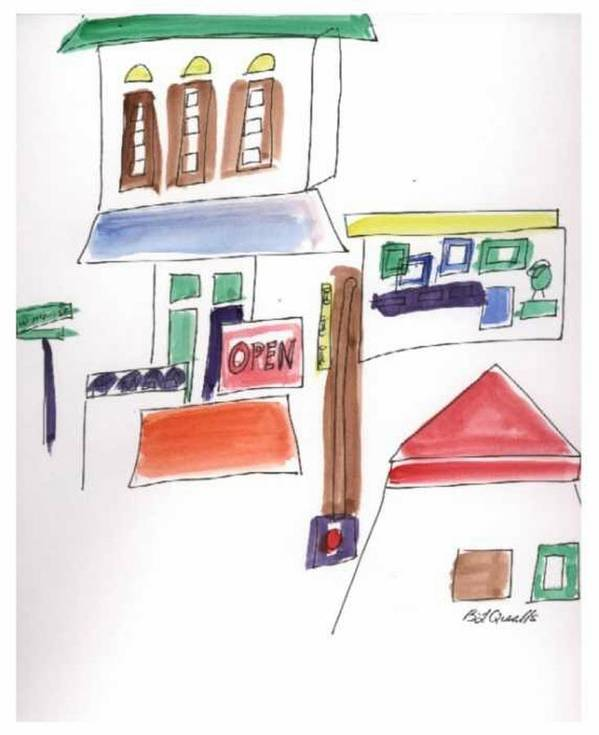 Watercolor Art Print featuring the painting Festival in the City 1 by B L Qualls
