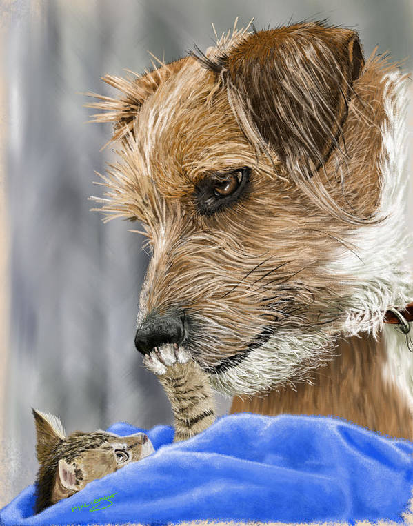 Dog Art Print featuring the painting Friends of Norfolk Animal Care Center by Myke Irving