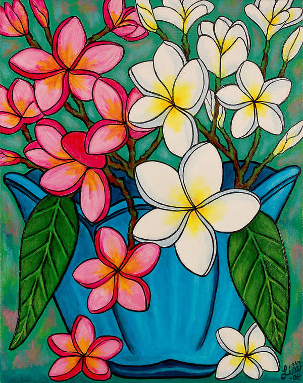 Frangipani Art Print featuring the painting Frangipani Sawadee by Lisa Lorenz