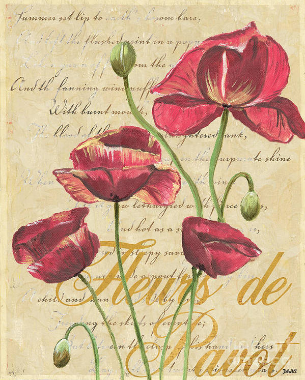French Art Print featuring the painting French Pink Poppies by Debbie DeWitt