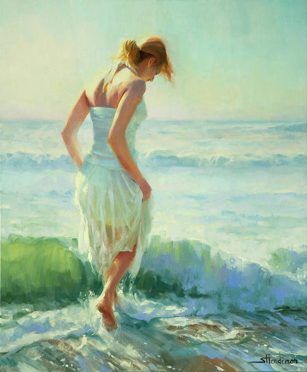 Seashore Art Print featuring the painting Gathering Thoughts by Steve Henderson