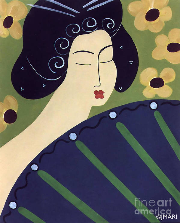 #japanese Art Print featuring the painting Geisha Doll by Jacquelinemari