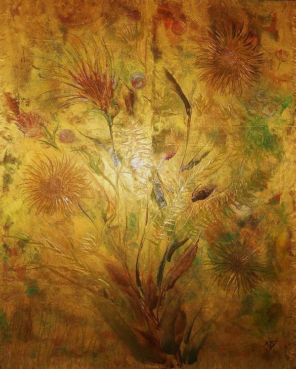 Floral Abstract Art Print featuring the painting Golden Garden by John Vandebrooke