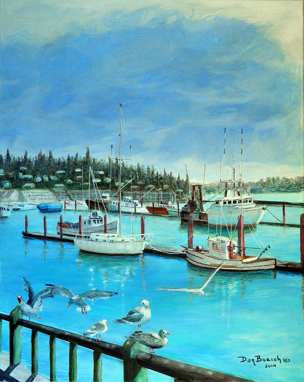 Seagulls Art Print featuring the painting Gulls at Newport Harbor by Dan Bozich
