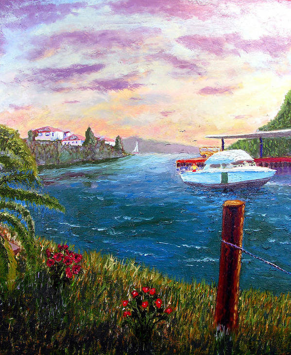 Original Oil On Wood Panel Art Print featuring the painting Harbor by Stan Hamilton