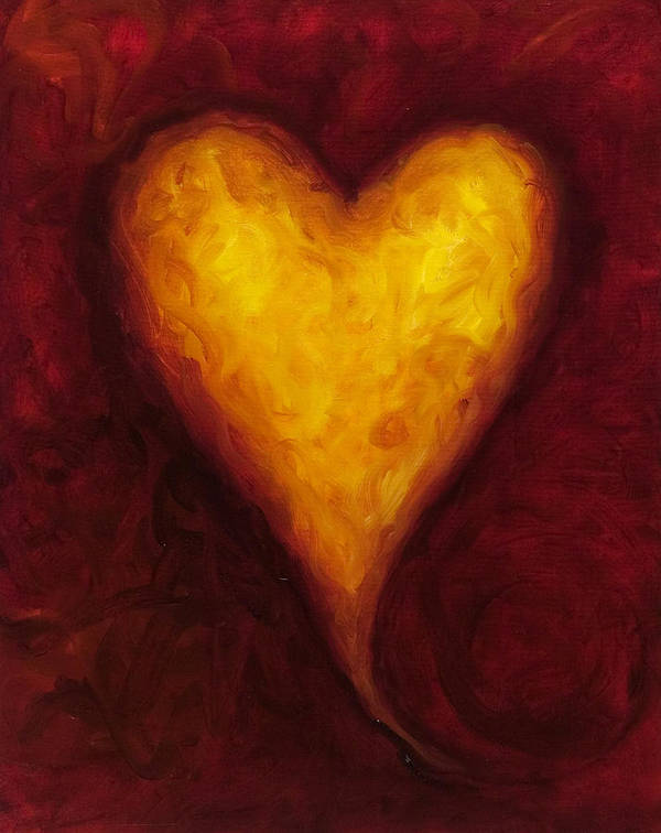 Heart Art Print featuring the painting Heart of Gold 1 by Shannon Grissom