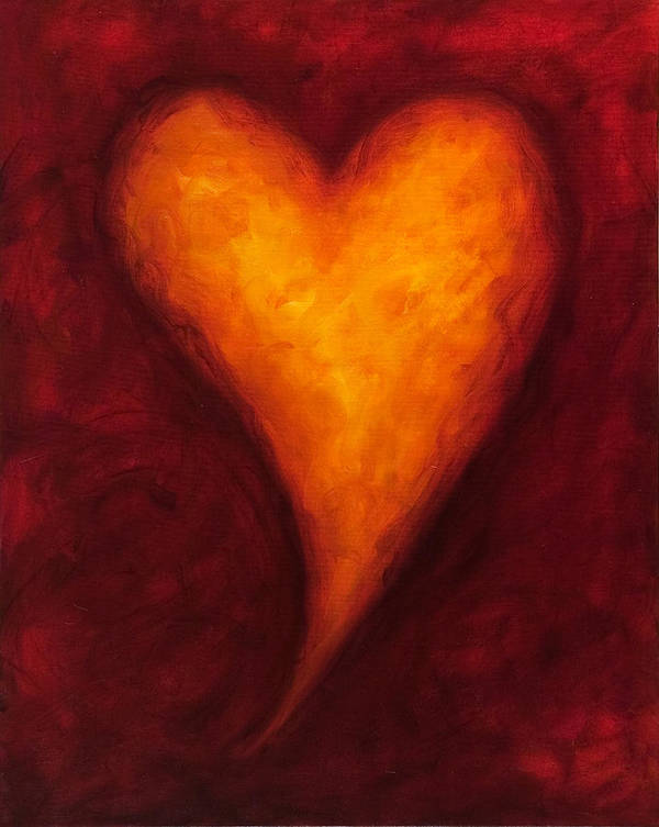 Heart Art Print featuring the painting Heart of Gold 2 by Shannon Grissom