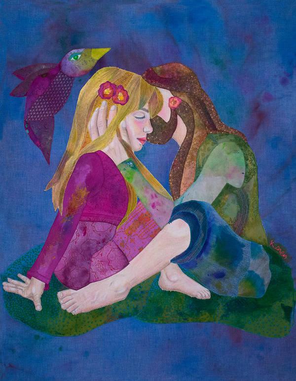 Deadhead Art Print featuring the mixed media Hippie Love by Karen Payton
