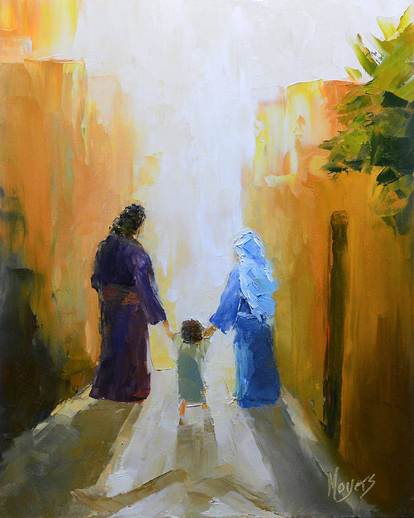 Christmas Art Print featuring the painting Holy Family by Mike Moyers