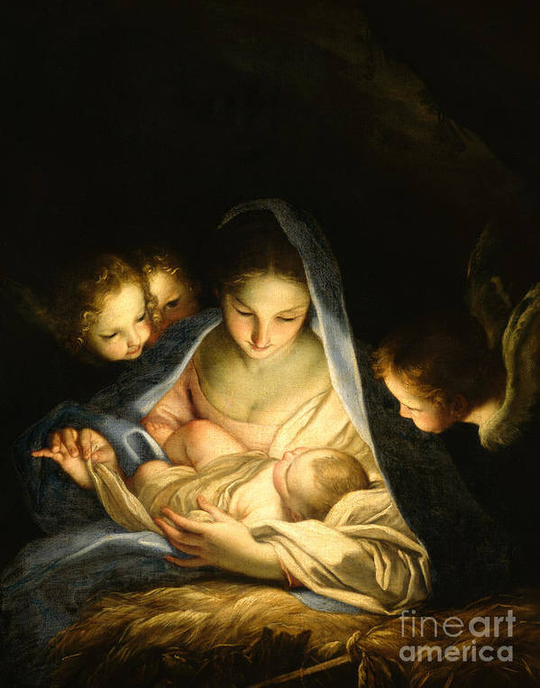 Virgin And Child Art Print featuring the painting Holy Night by Carlo Maratta