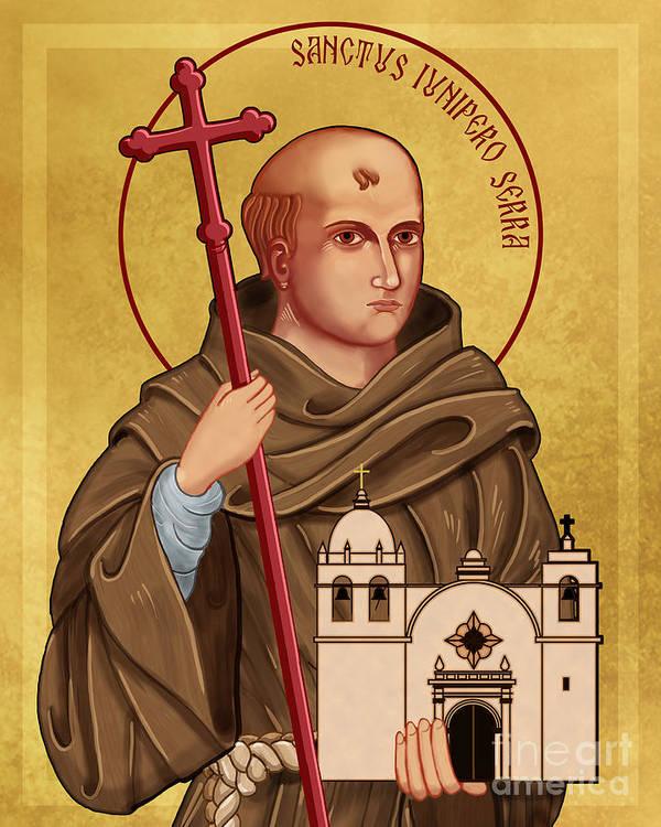 Icon of Saint Junipero Serra Art Print by Lawrence Klimecki