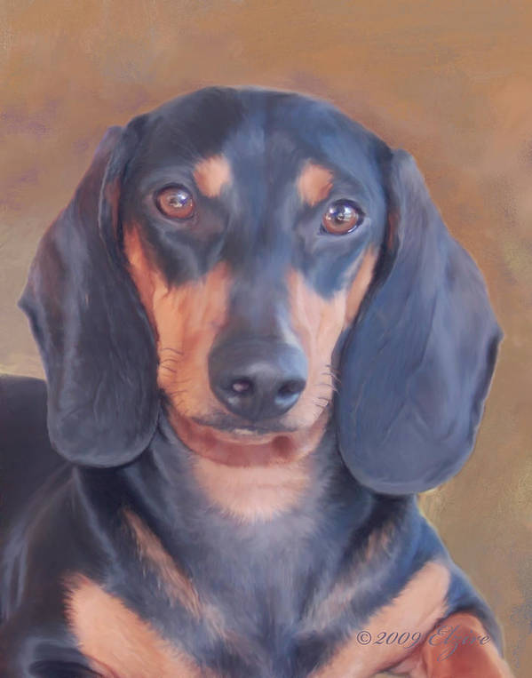 Daschund Art Print featuring the painting I'm Watching Over You Mom by Elzire S
