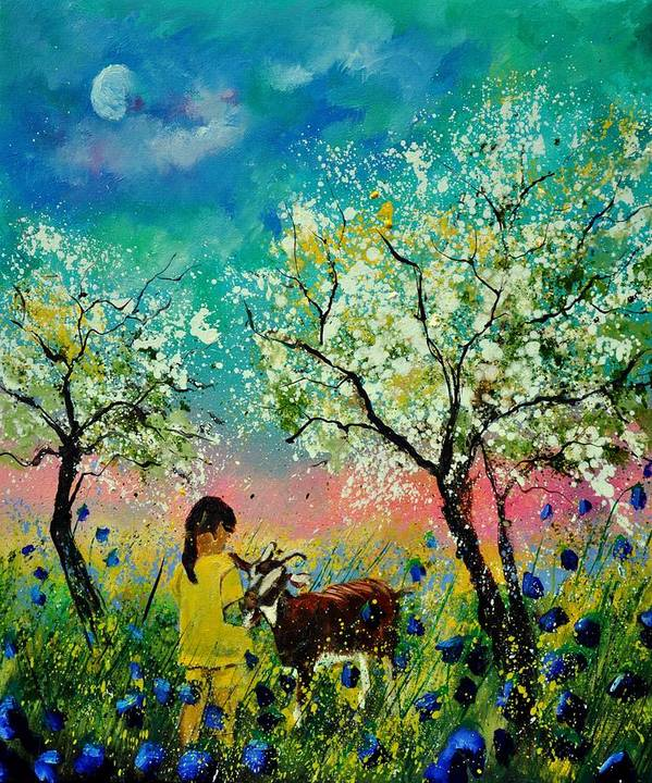 Landscape Art Print featuring the painting In the orchard by Pol Ledent