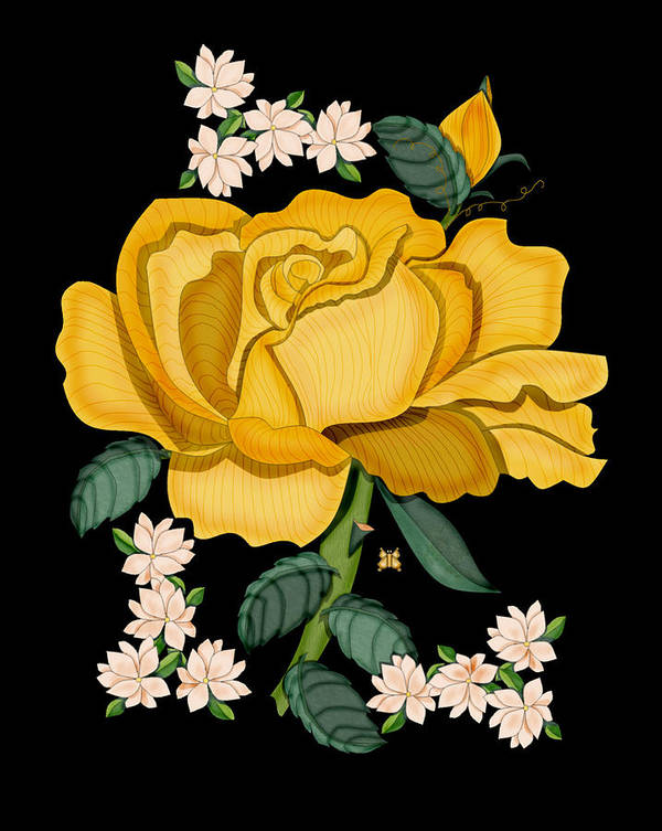 Golden Rose Art Print featuring the painting January 2011 Rose in Gold by Anne Norskog