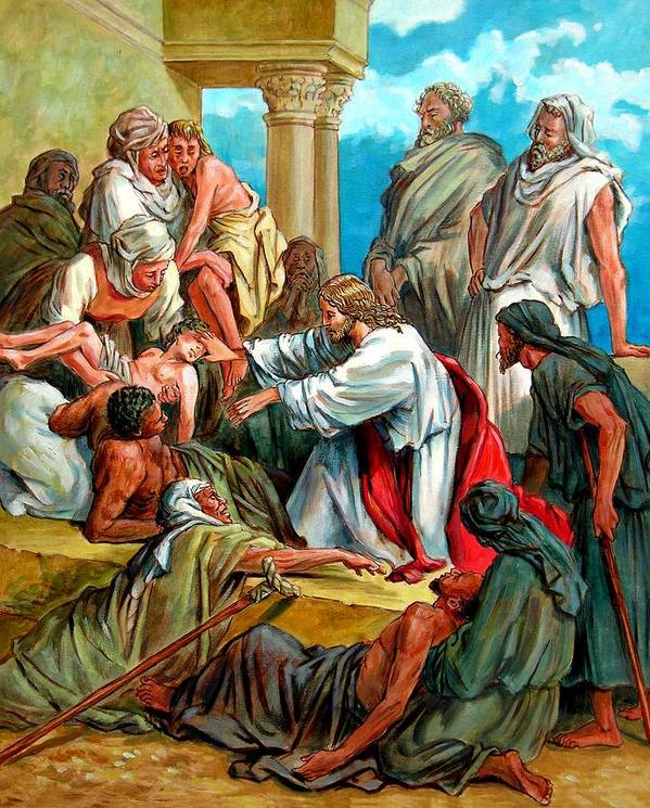 Biblical Scene Art Print featuring the painting Jesus Healing the Sick by John Lautermilch