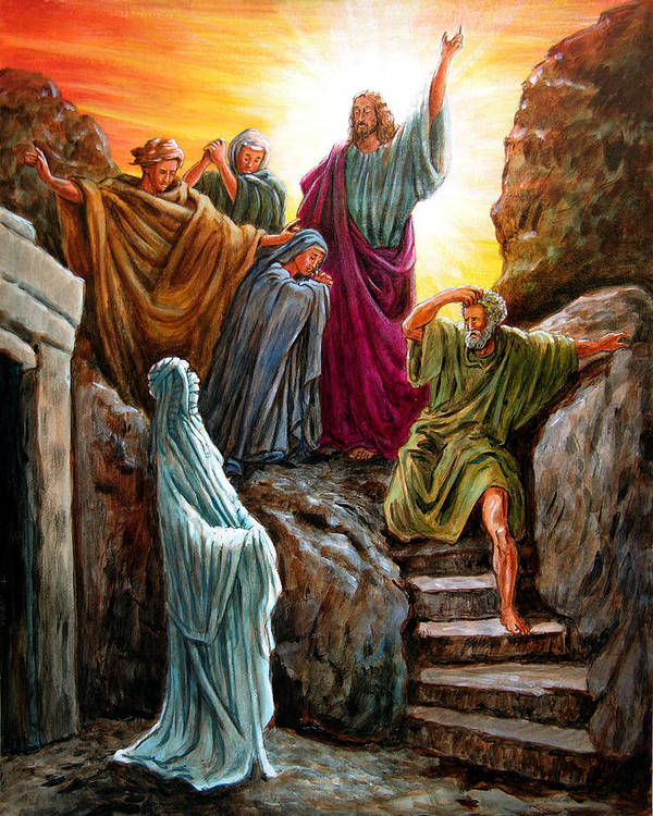 Bible Scene Art Print featuring the painting Jesus Raises Lazarus by John Lautermilch