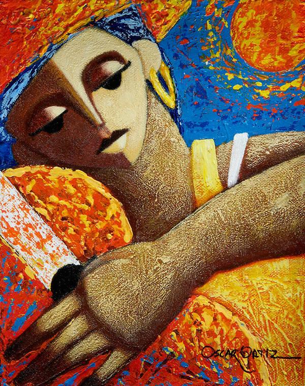 Puerto Rico Art Print featuring the painting Jibara y Sol by Oscar Ortiz