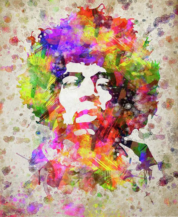 Jimi Hendrix Art Print featuring the digital art Jimi Hendrix Portrait by Aged Pixel