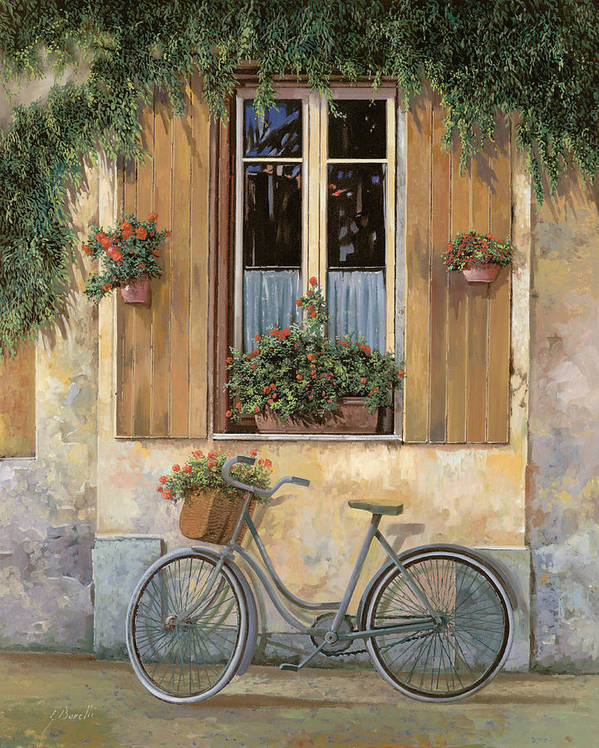 Bike Art Print featuring the painting La Bicicletta by Guido Borelli