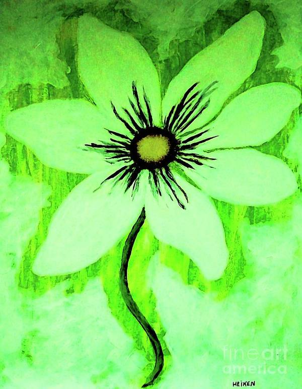 Painting Art Print featuring the painting Lime Daisy by Marsha Heiken