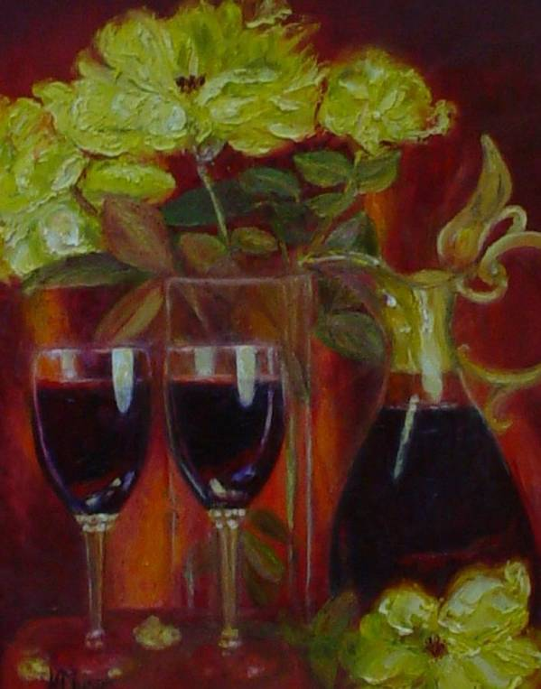 Yellow Roses Art Print featuring the painting Lindeman's Merlot by Helen Musser