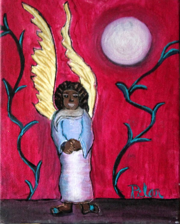 Beautiful Black Angel With Long Gold Wings Art Print featuring the painting Little Angel by Pilar Martinez-Byrne