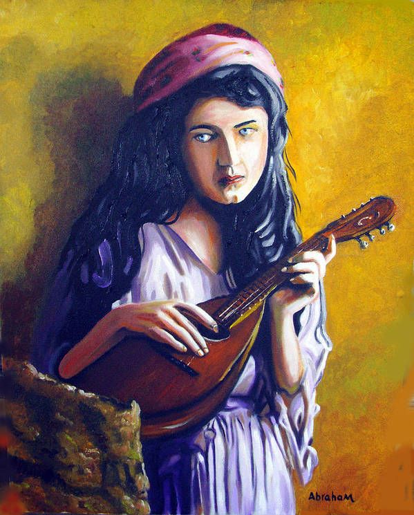 Oil Art Print featuring the painting Little Gypsy by Jose Manuel Abraham