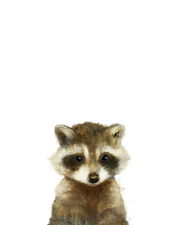 Raccoon Art Print featuring the painting Little Raccoon by Amy Hamilton
