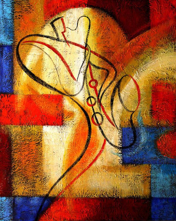 West Coast Jazz Art Print featuring the painting Magic Saxophone by Leon Zernitsky