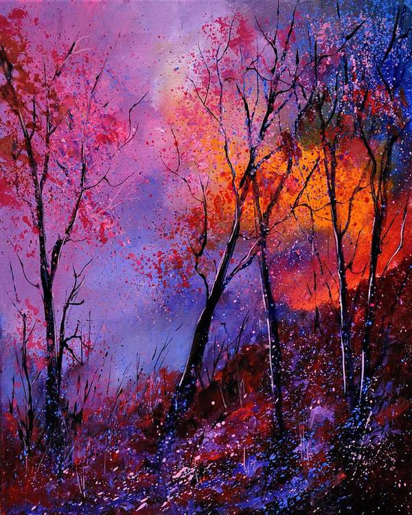 Landscape Art Print featuring the painting Magic trees by Pol Ledent