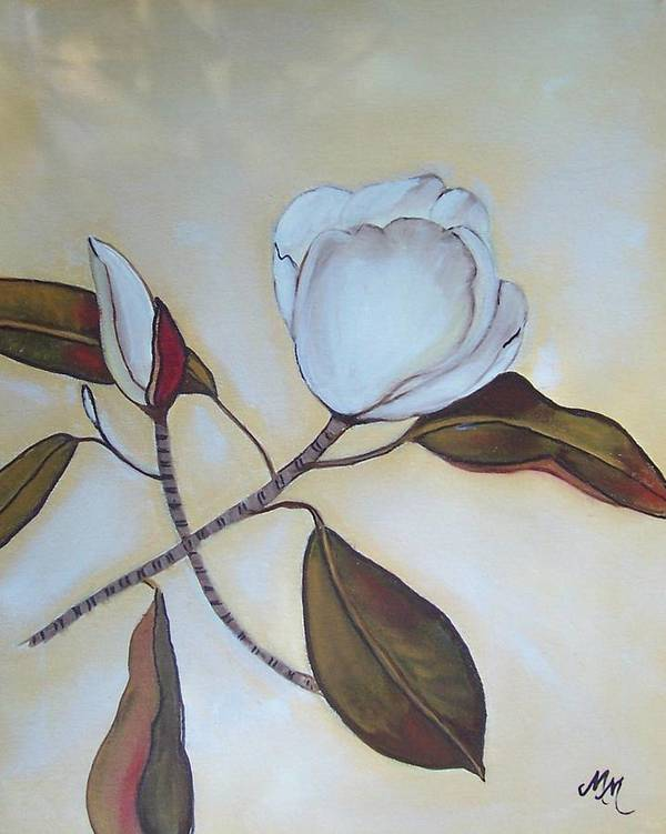 Flowers Art Print featuring the painting Magnolia Bud by Martha Mullins