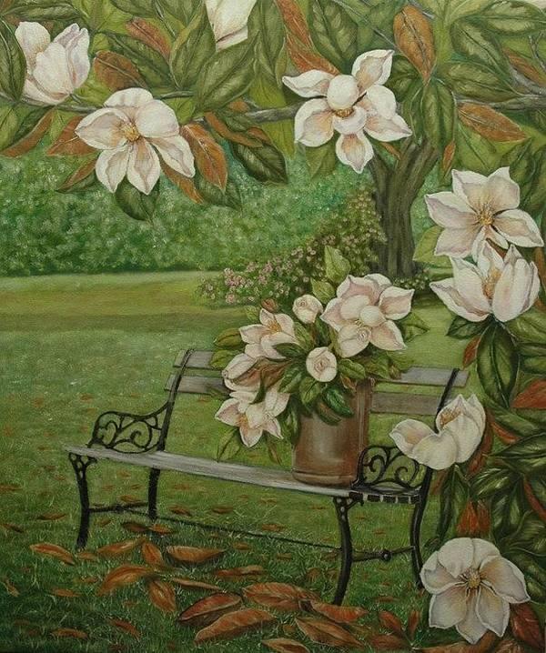 Magnolia Art Print featuring the painting Magnolia Tree by Tresa Crain