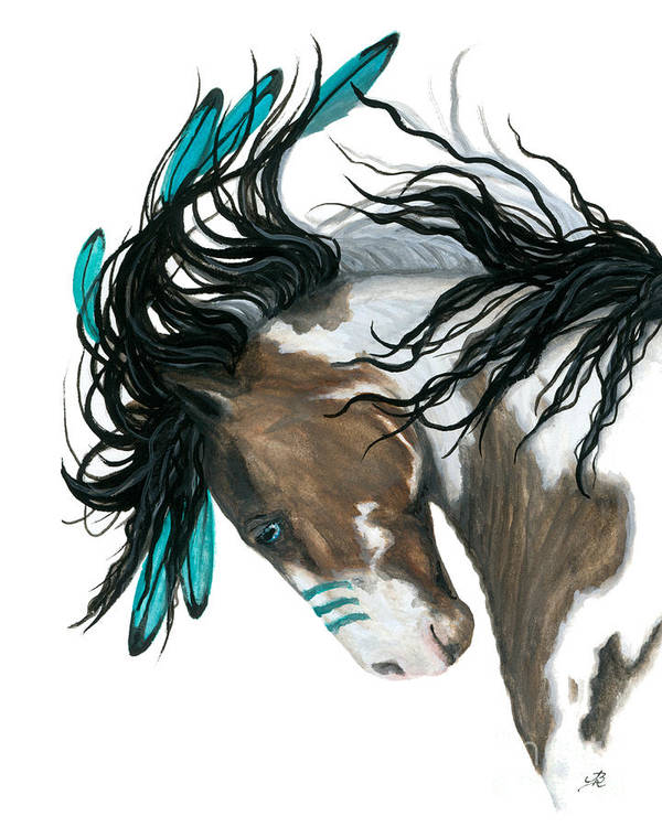 Turquoise Art Print featuring the painting Majestic Turquoise Horse by AmyLyn Bihrle