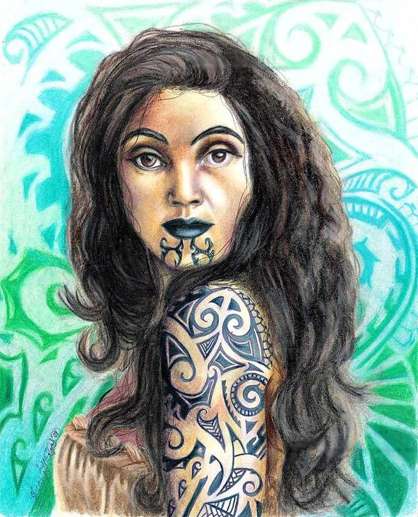 Woman Art Print featuring the drawing Maori Woman by Scarlett Royal